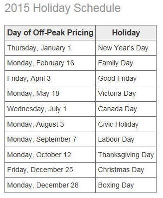 Ontario Energy Board Holiday Schedule