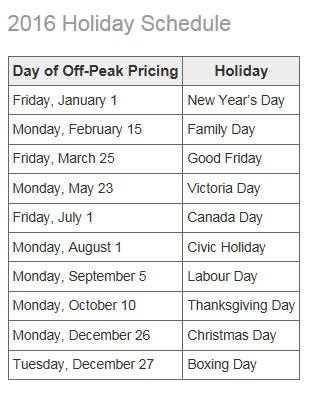 2016 Holiday Schedule